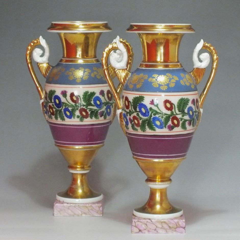 Paris - A pair of cashmere decor vases - Restoration period - 1820