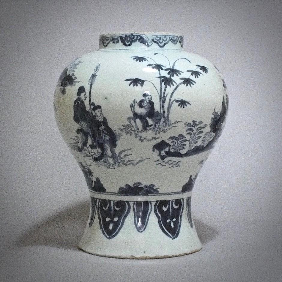 Delft - Potiche aux chinois - Fin du XVIIe Siècle
