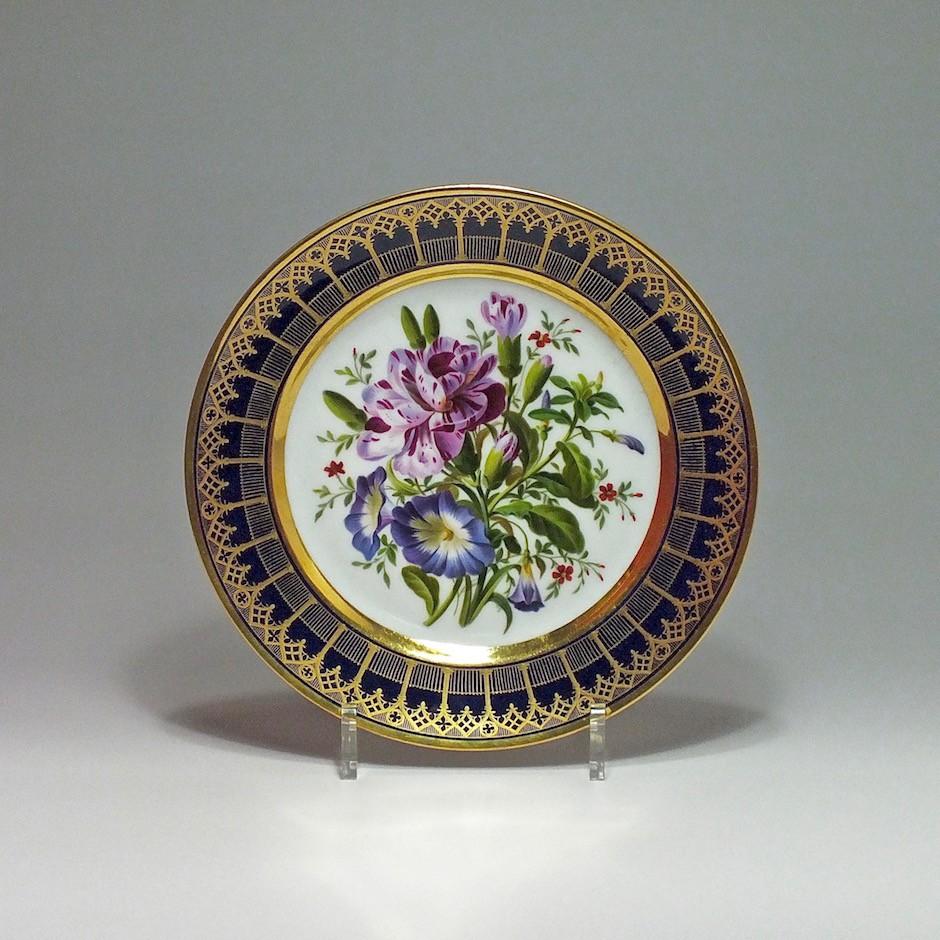 Paris - Darte - Assiette à décor d'un bouquet de fleurs - XIXe Siècle - Vers 1820.