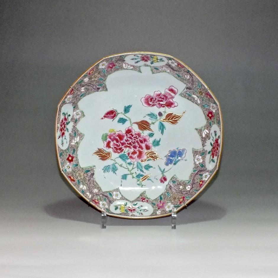 Chine - Coupe octogonale famille rose - époque Qianlong