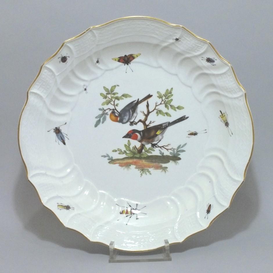 Meissen - Plat en porcelaine à décor d'oiseaux et d'insectes - XVIIIe Siècle
