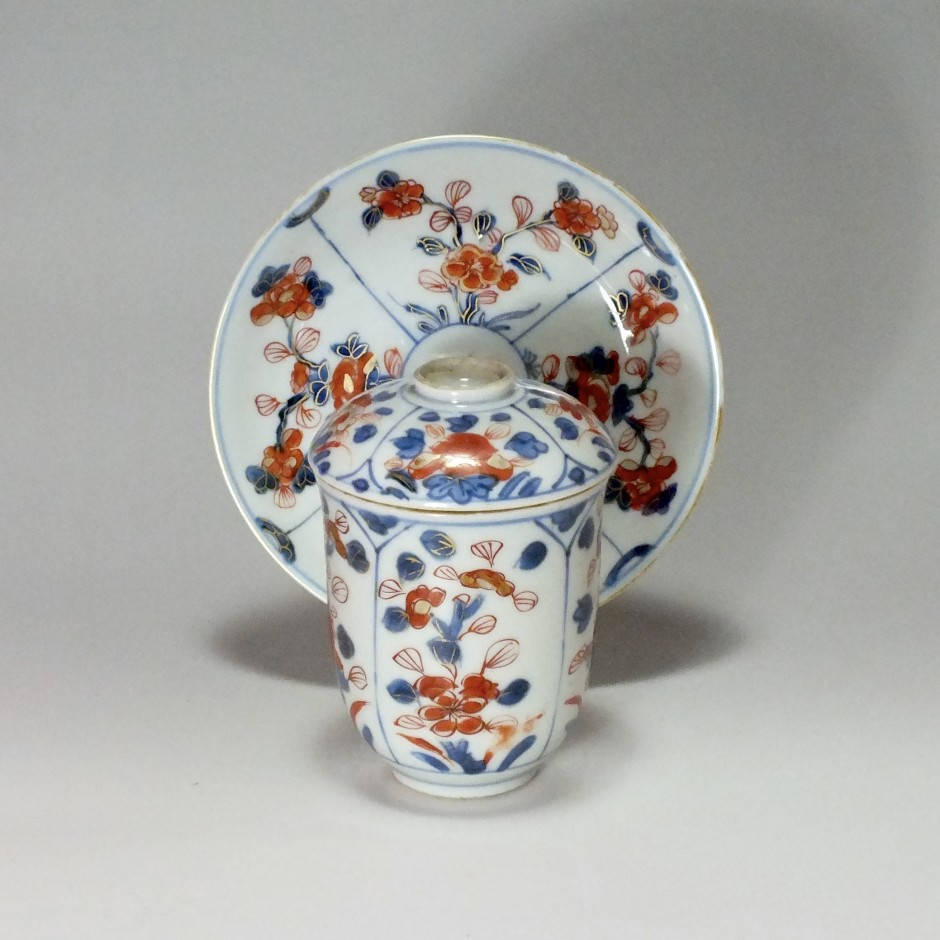 China - covered goblet decorated Imari - eighteenth century