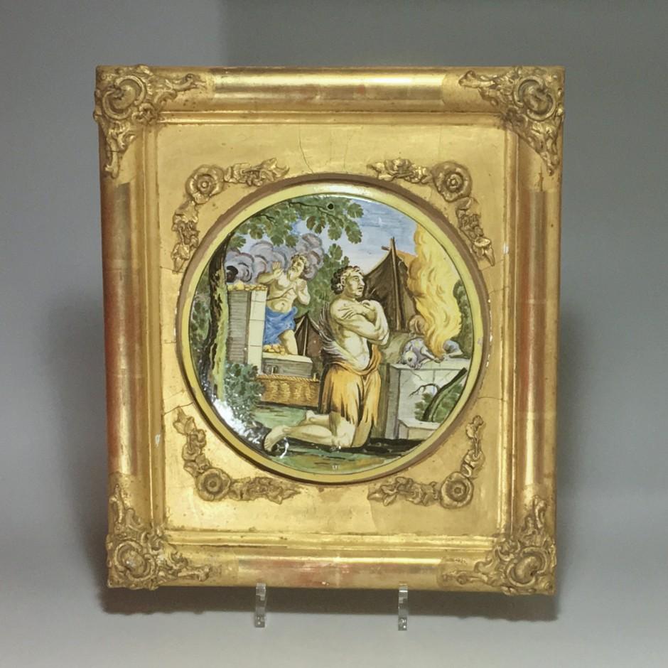 "CASTELLI, Applique Tondo, ""The Sacrifice of Abraham"" - Early eighteenth century."