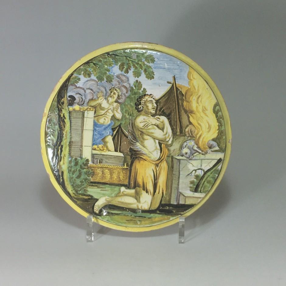 """CASTELLI, Tondo d'applique, """"Le sacrifice d'Abraham"""" - Début du XVIIIe siècle."""