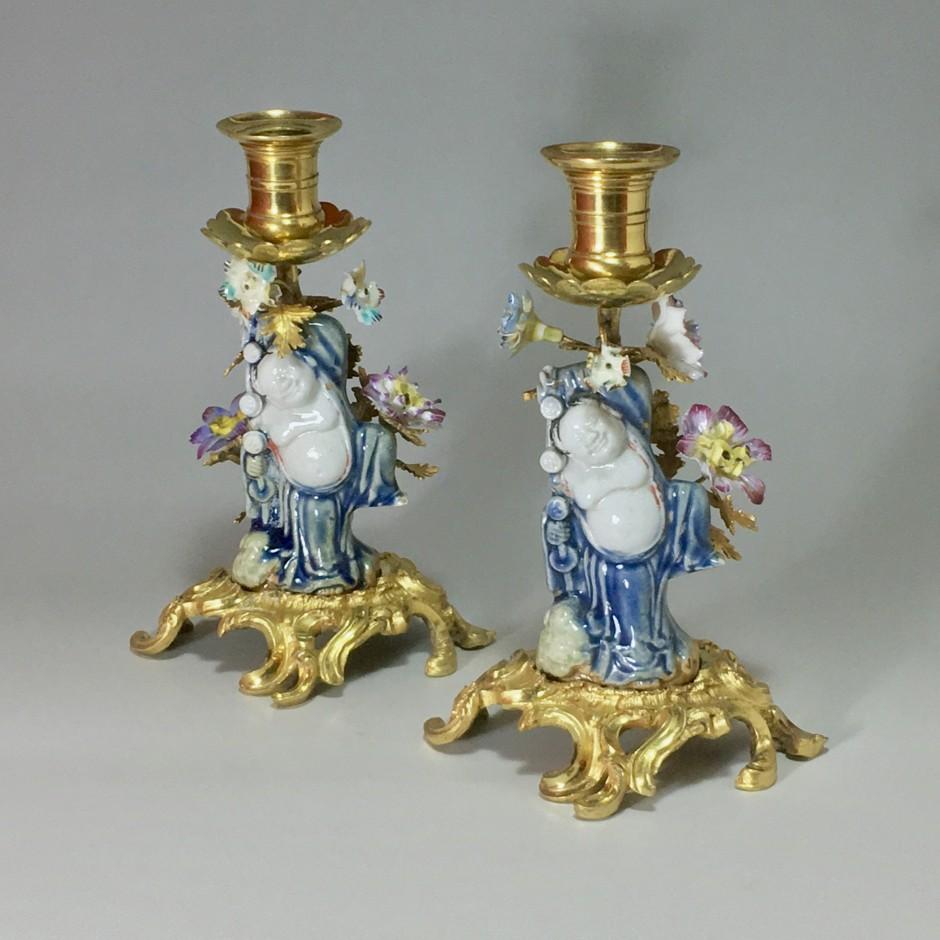 Paire de bougeoirs à main - XVIIIe - XIXe siècle