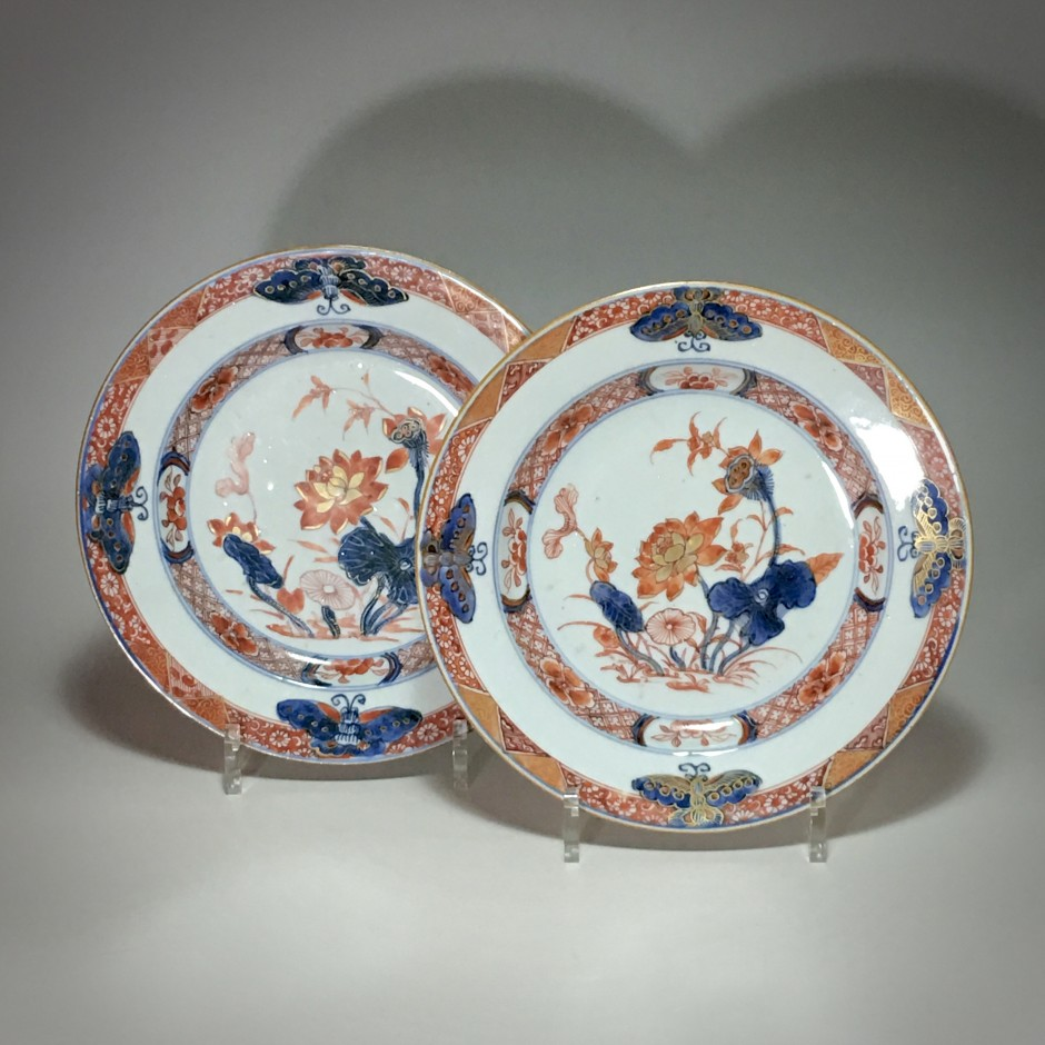 China - Plates with butterflies - eighteenth century - SOLD & China - Pair of imari plates with butterflies - eighteenth century