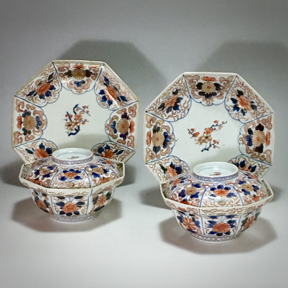 Japan - Rare pair of octagonal covered bowls - Edo period - early 18th century