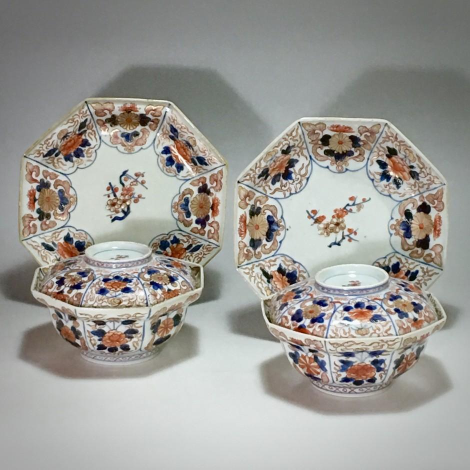 Japon – Rare paire de bols couverts octogonaux - Époque Edo - début du XVIIIe siècle