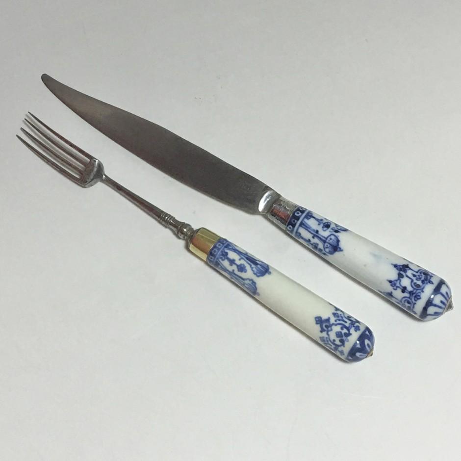 Couteau et fourchette en porcelaine tendre de Saint-Cloud - XVIIIe siècle