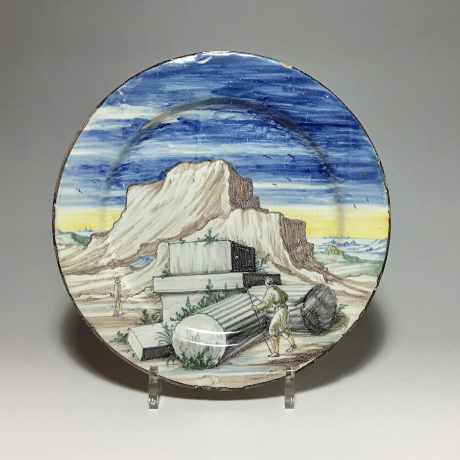 Pavia - Small dish decorated with ruins on a landscape background - Late 17th - Early 18th century