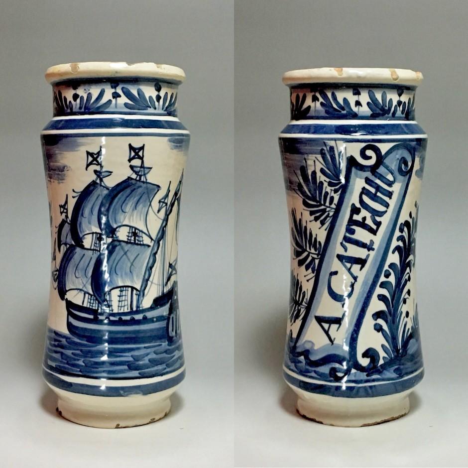 Catalogne (Espagne) - Albarello au bateau - XVIIe/XVIIIe siècle