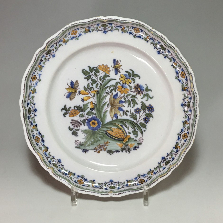 Moustiers - rare plate with pomegranate - eighteenth century
