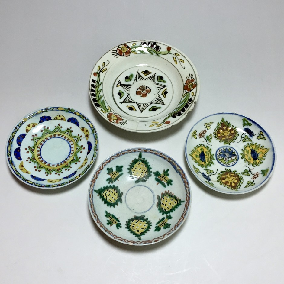Four ceramic cups from Kutahya - Ottoman Turkey - first half of the 18th century