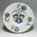 WINTERTHUR (Suisse) Grand plat à décor d'armoiries - Daté 1678