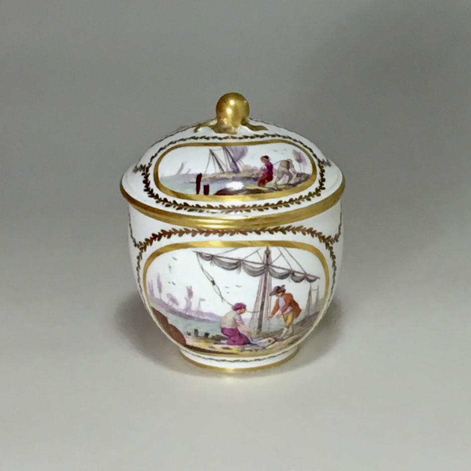 Sèvres - Sugar pot with port scene decoration - Eighteenth century