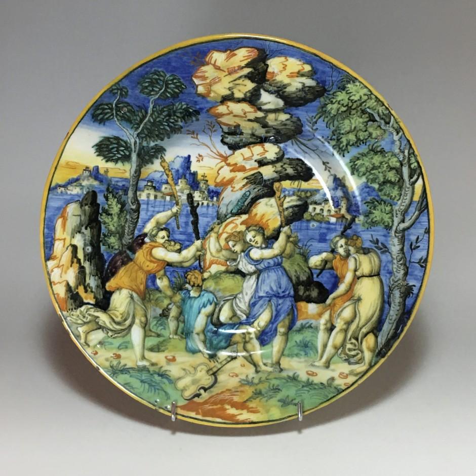 "Urbino majolica dish ""Orpheus and the Bacchae"" School of Xanto - circa 1540"