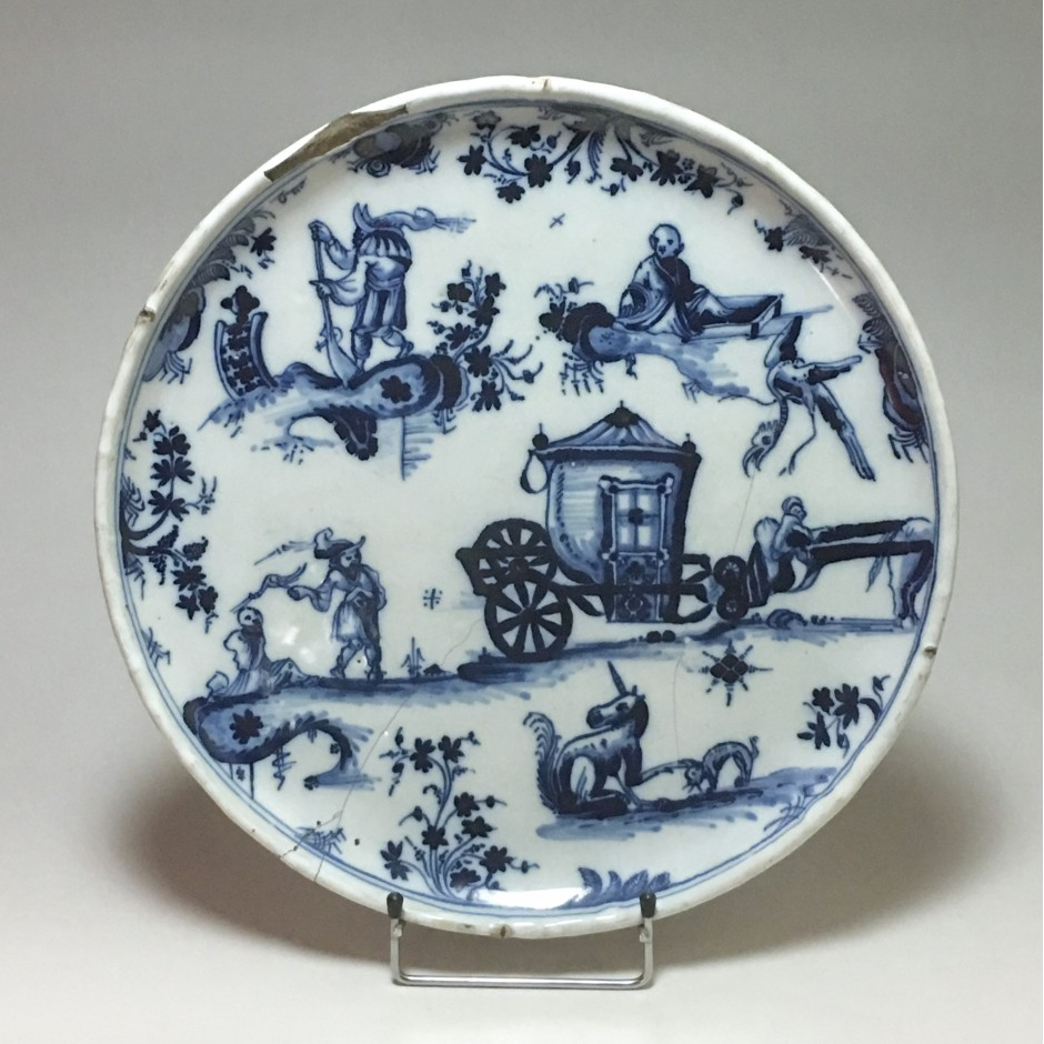 Marseille Earthenware Tray (Leroy) Amusing Grotesque Decor - Eighteenth Century