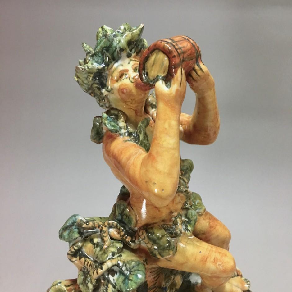 Fontaine figurant Bacchus en majolique d'Urbino, Atelier de Patanazzi vers 1580.