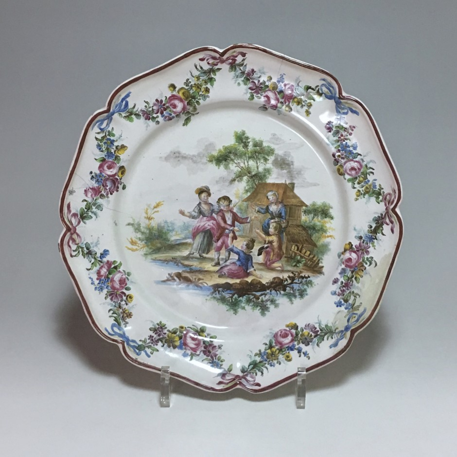 Meillonnas - Children's play plate with mason whip - eighteenth century - SOLD