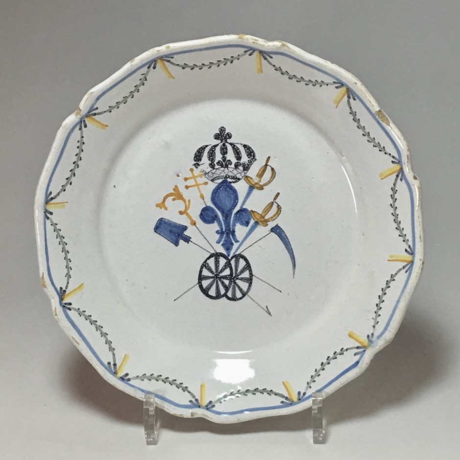 "Nevers - Rare decorative plate said ""rolling third"" - eighteenth century"