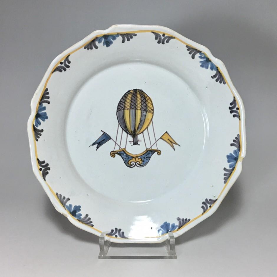 Nevers Balloon Plate - Eighteenth Century