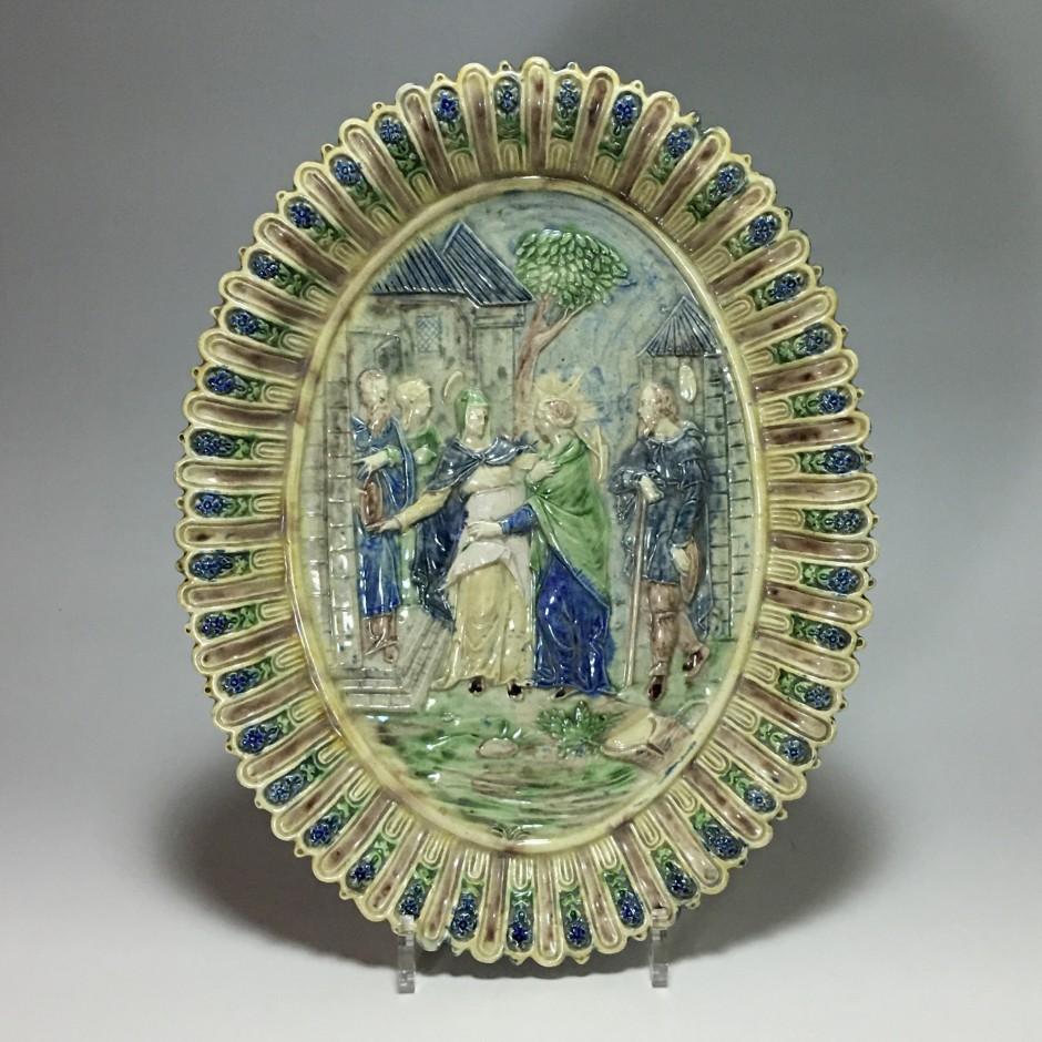 Plat de l'école de Paris décoré d'une scène religieuse - XIXe siècle