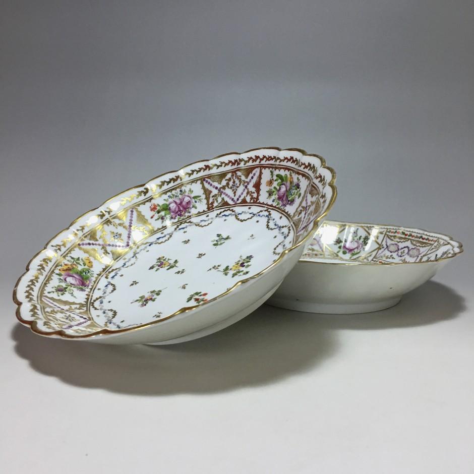 Bordeaux - Pair of Porcelain Jattes - Manufacture of Bordes Lands - Eighteenth Century