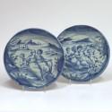 Savone – Paire de plats en camaïeu bleu – Vers 1700