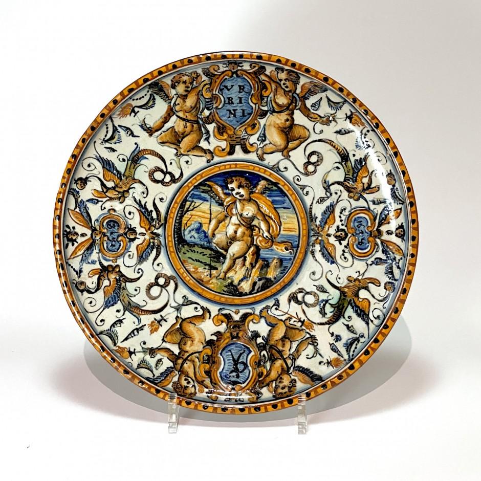 Pedestal cup in Urbino majolica - Patanazzi workshop - Dated 1638