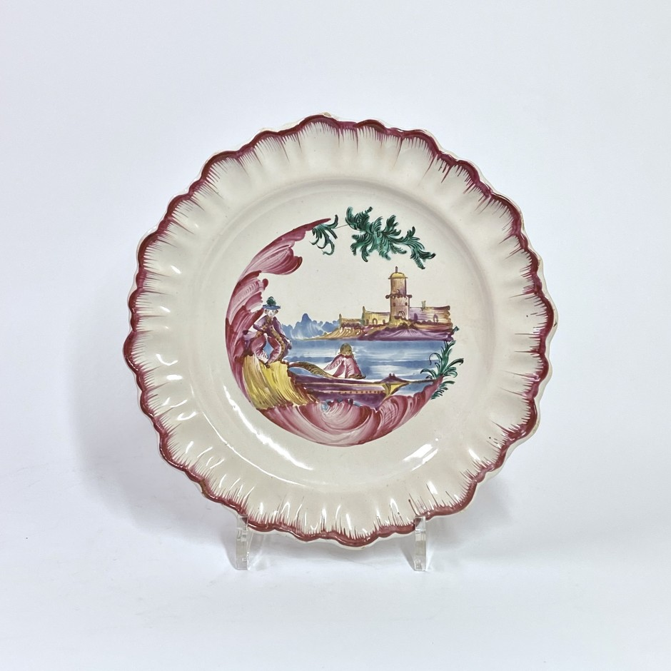 Moustiers earthenware plate - Manufacture de Ferrat - Eighteenth century