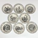 Montereau - Suite de huit assiettes sur l'Indépendance Grecque - Début du XIXe siècle - VENDU