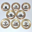Série de huit assiettes décorées en grisaille - Paris - Pouyat & Russinger - Époque Directoire - VENDU