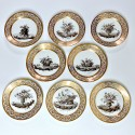Series of eight plates decorated in grisaille - Paris - Pouyat & Russinger - Directoire period - SOLD