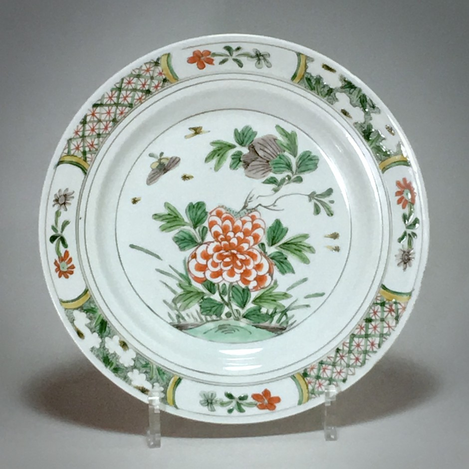 China - Green Family Porcelain Plate - Kang Hi Period