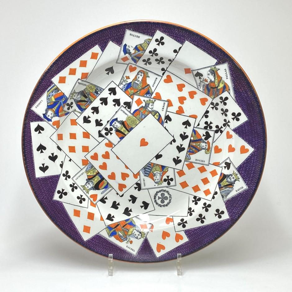 Trompe l'oeil playing card dish - Creil et Montereau - Nineteenth century