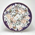 Plat aux cartes à jouer en trompe l'oeil - Creil et Montereau - XIXe siècle