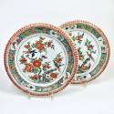China - Pair of famille verte dishes - Kangxi period (1662-1722)