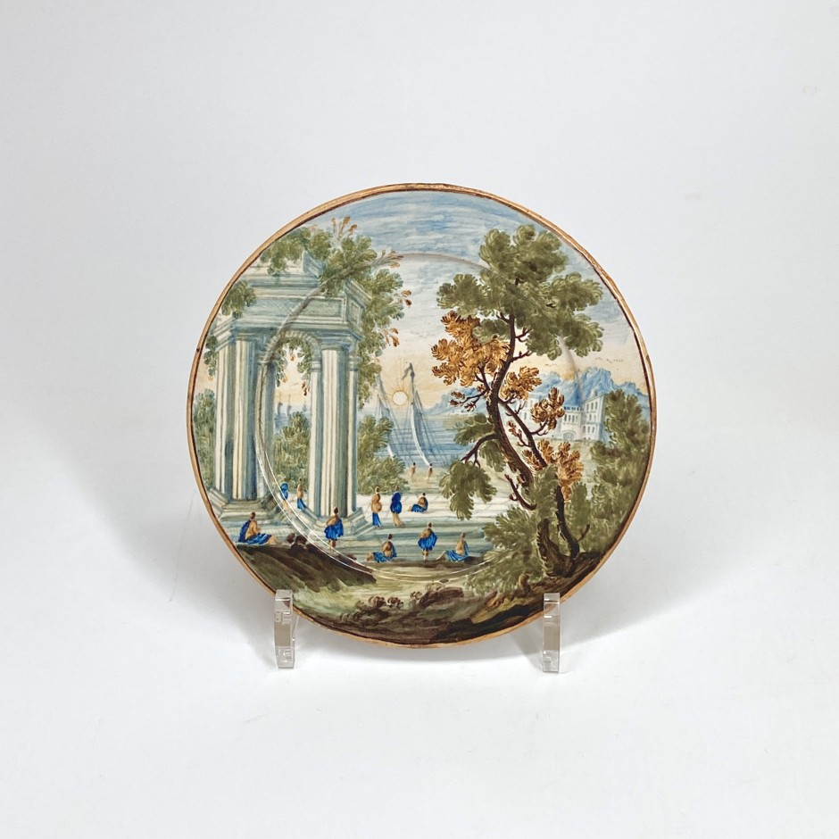 Castelli - Small earthenware plate decorated with a landscape - Eighteenth century