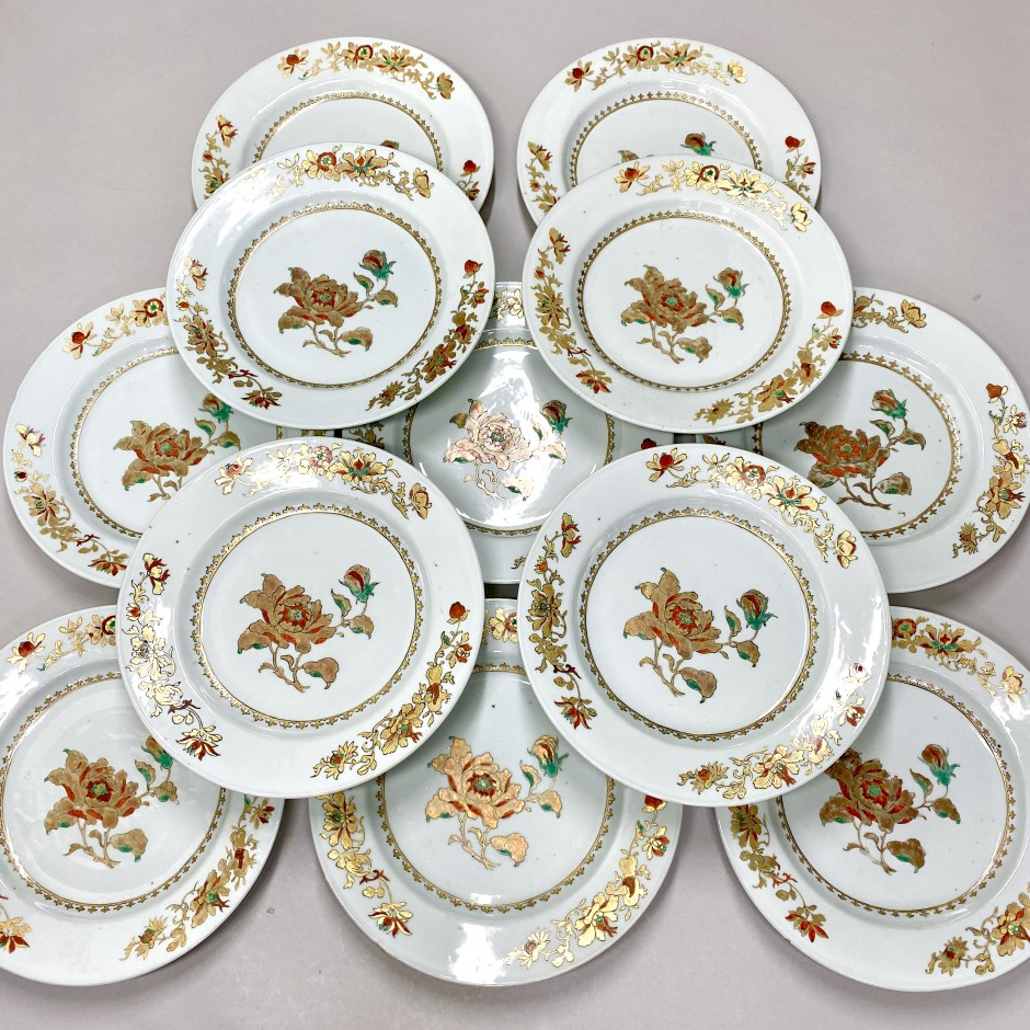 Chine - Suite de douze assiettes - Époque Qianlong - VENDU