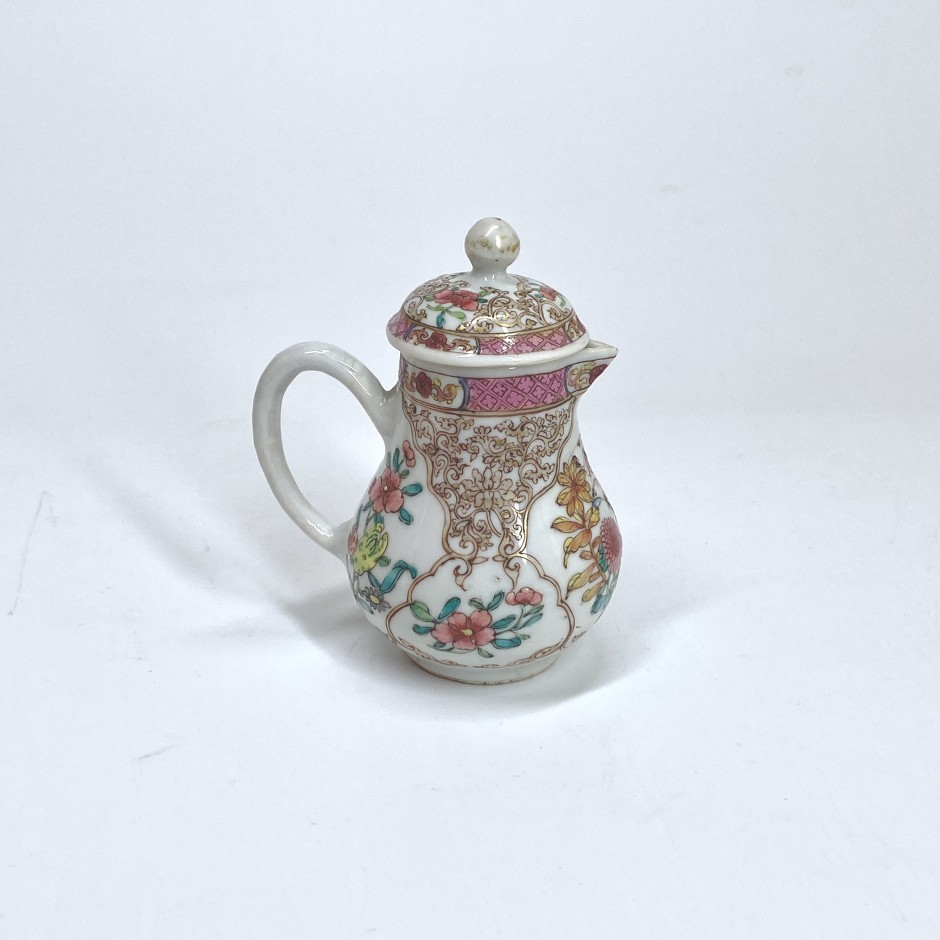 China - Famille rose porcelain covered milk jug - Yongzheng period (1723-1735) - SOLD