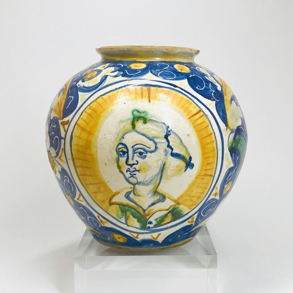 Sicily - Majolica ball vase - Seventeenth century