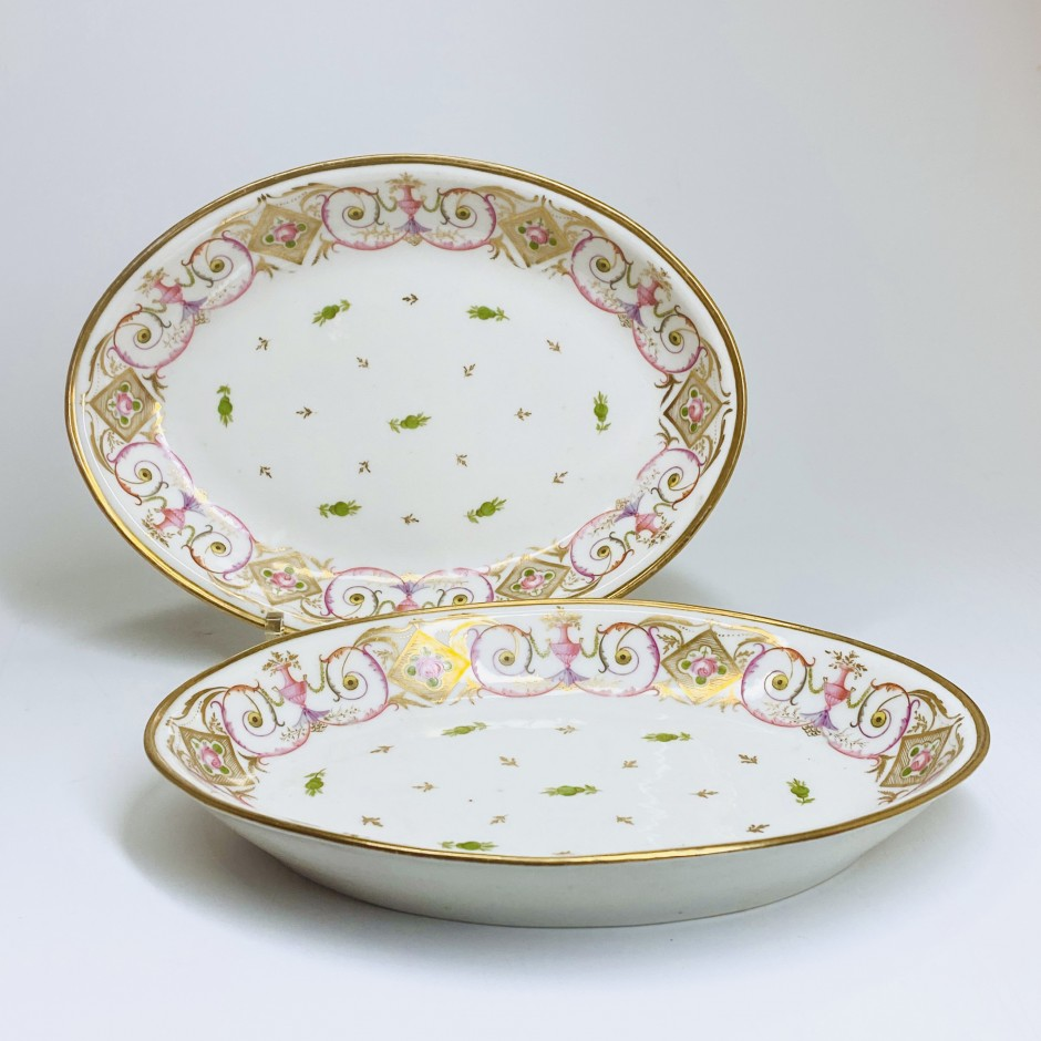 Paris - Porcelain Nast - Pair of small flat ovals - Around 1800 - SOLD