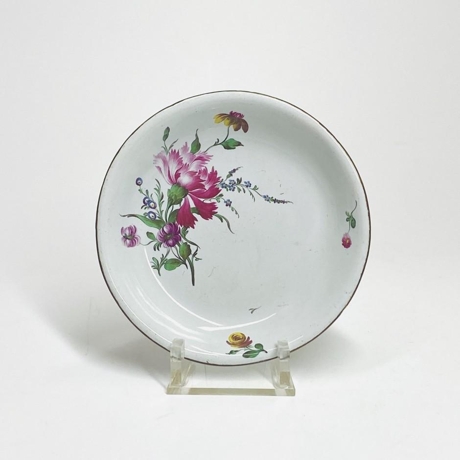 Strasbourg - Soucoupe à décor de fleurs fines - Joseph Hannong - XVIIIe siècle