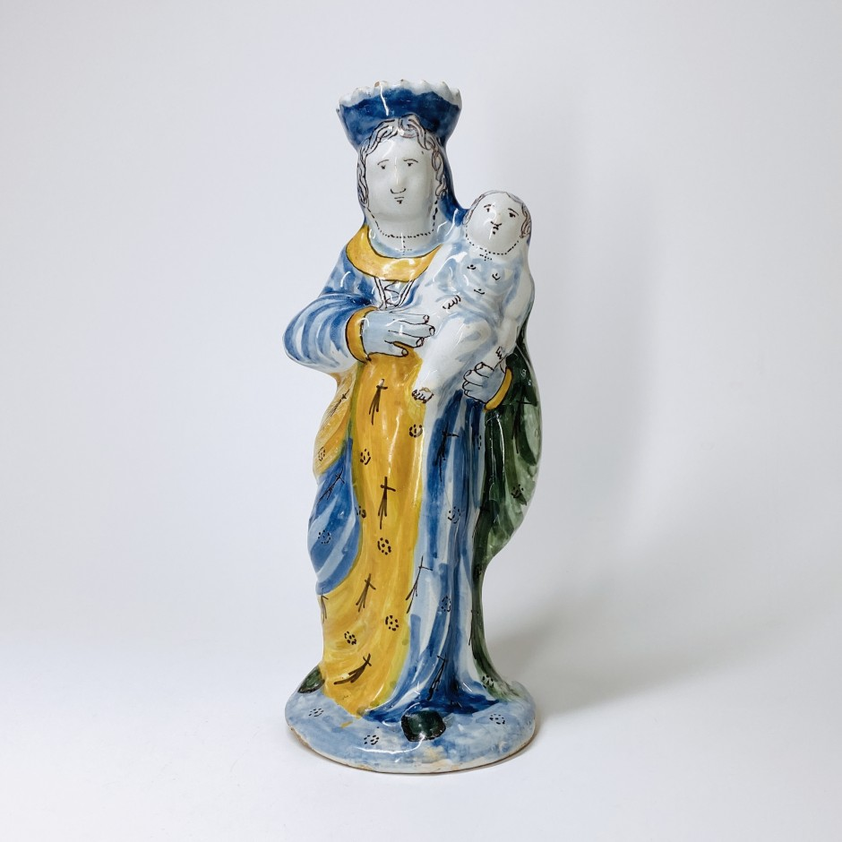 Vierge d'accouchée en faience de Nevers - XVIIIe siècle