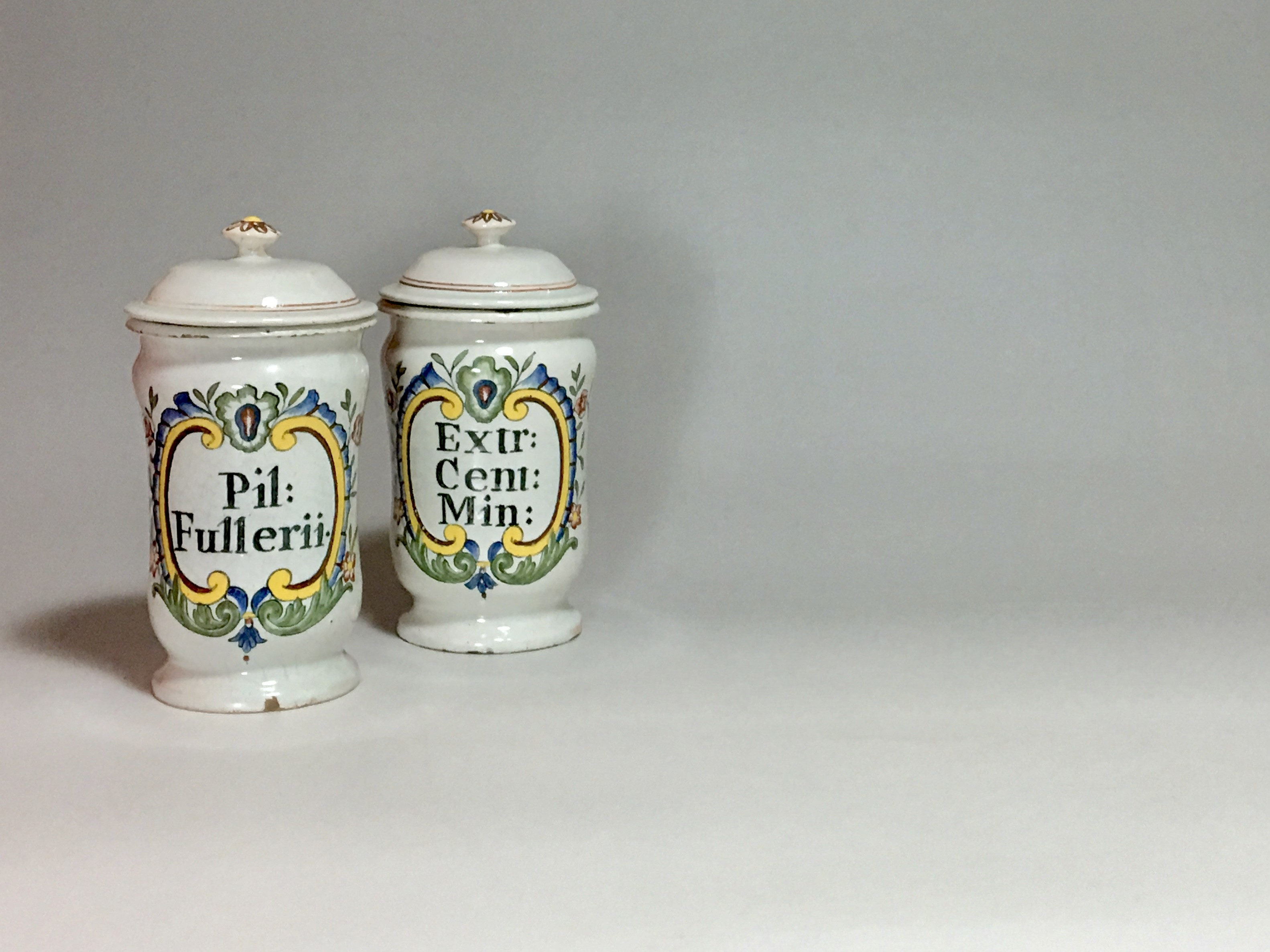 ROUEN - PAIR OF SMALL PHARMACY JARS - EIGHTEENTH CENTURY