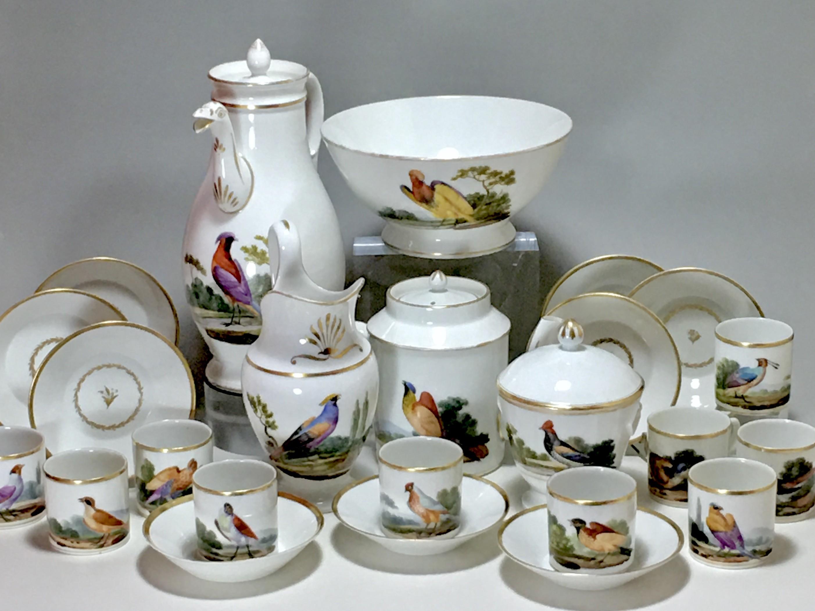 PARIS - TEA AND COFFEE SERVICE WITH BIRDS DECOR - EMPIRE PERIOD