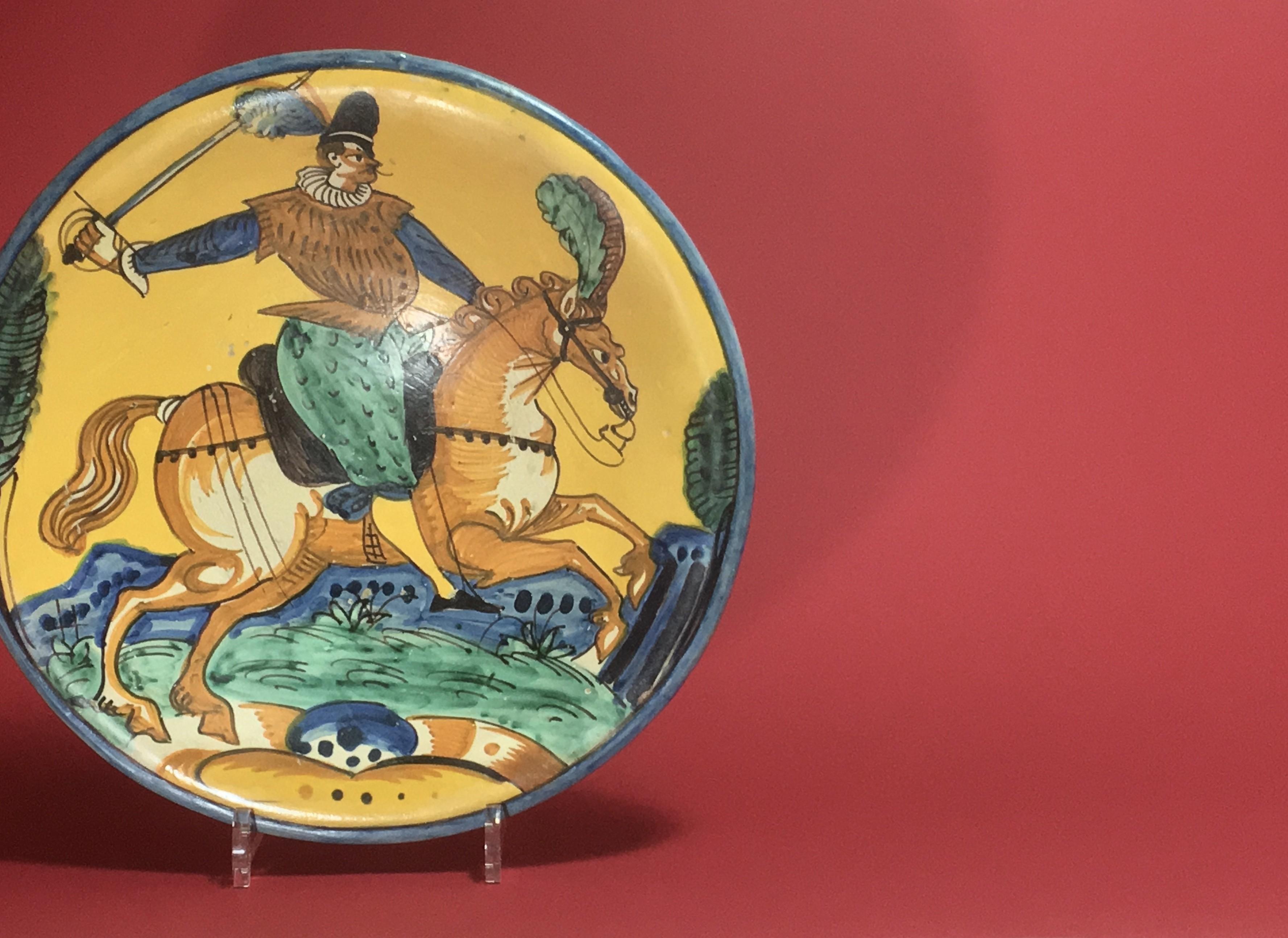MONTELUPO DISH TO DECOR OF A CAVALIER   SEVENTEENTH CENTURY